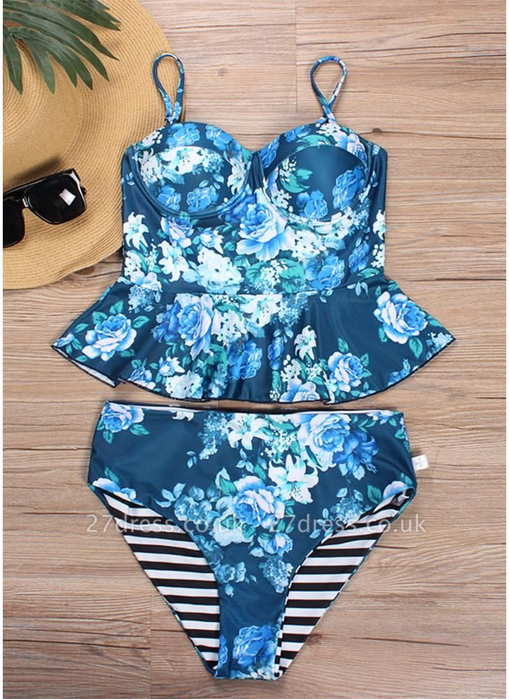 Women Floral Printed Sexy Bikini Set Swimsuit  Underwire Padded Beach Wear