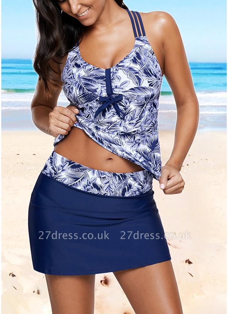 Women Print Strappy Padded Top Open Back High Waist Skirted Tankini Set