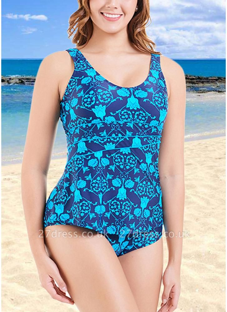 Plus Size Print O Neck Sleeveless Backless One Piece Swimsuit