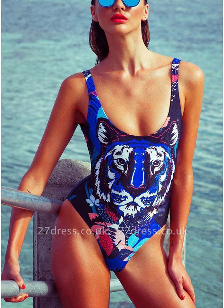 Women One Piece Swimwear Tiger Head Print Swimsuit Beach Summer Bathing Suit