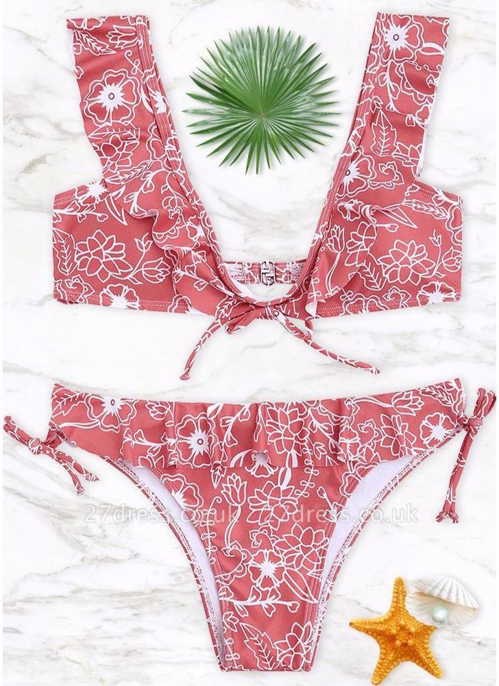 Women Sexy Bikini Set Ruffled Floral Print Bandage  Swimsuit Swimwear