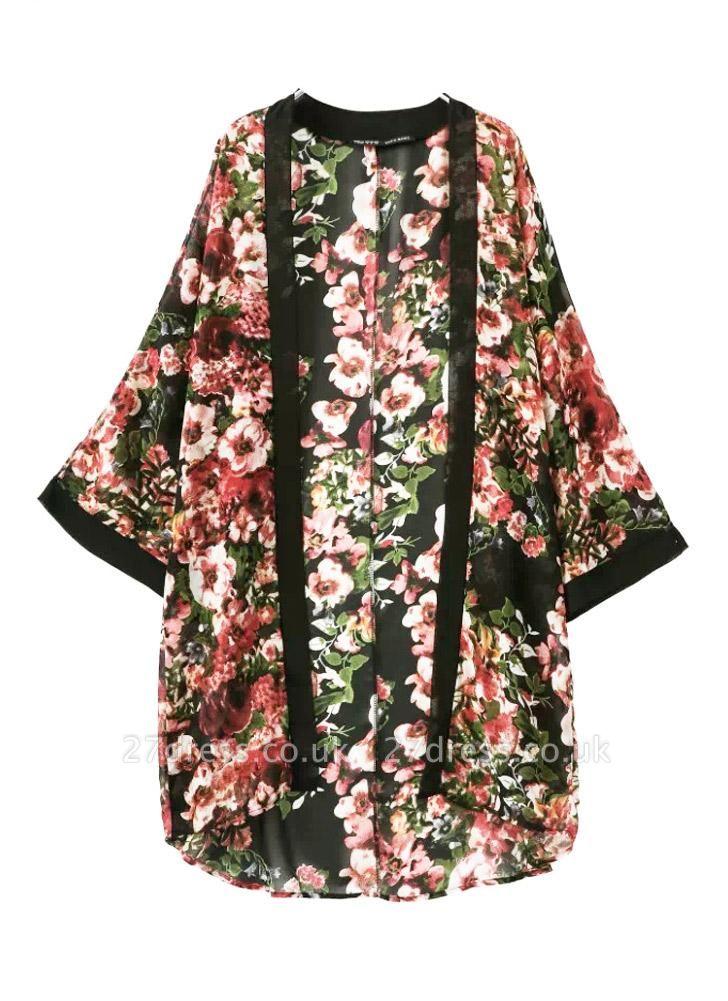 Vintage Floral Print Long Bat Sleeves Chiffon Kimono Blouse