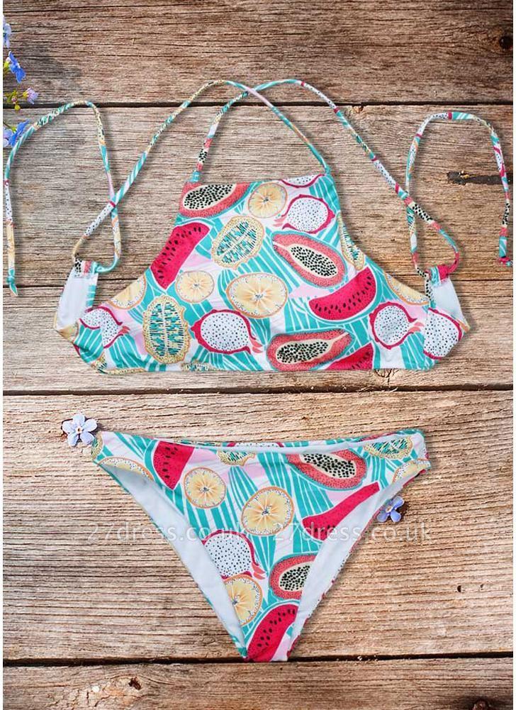 Women Fruit Printed Sexy Bikini Set Halter Swimsuit Padded Two Piece Swimwear fr