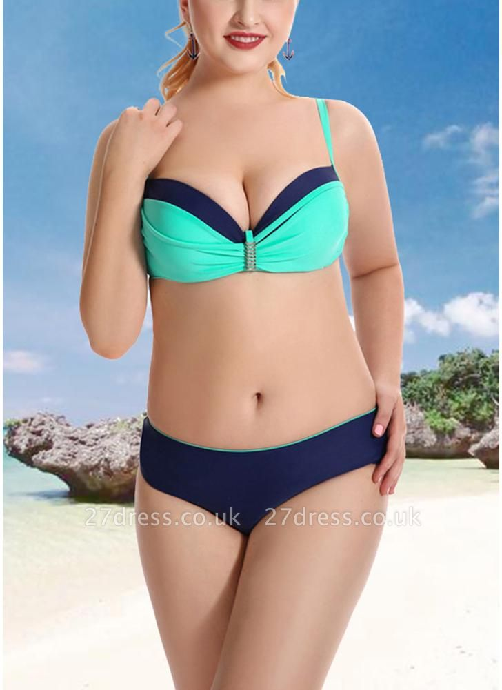 Women Plus Size Two Piece Sexy Bikini Set Triangular Spaghetti Strap Swimwear