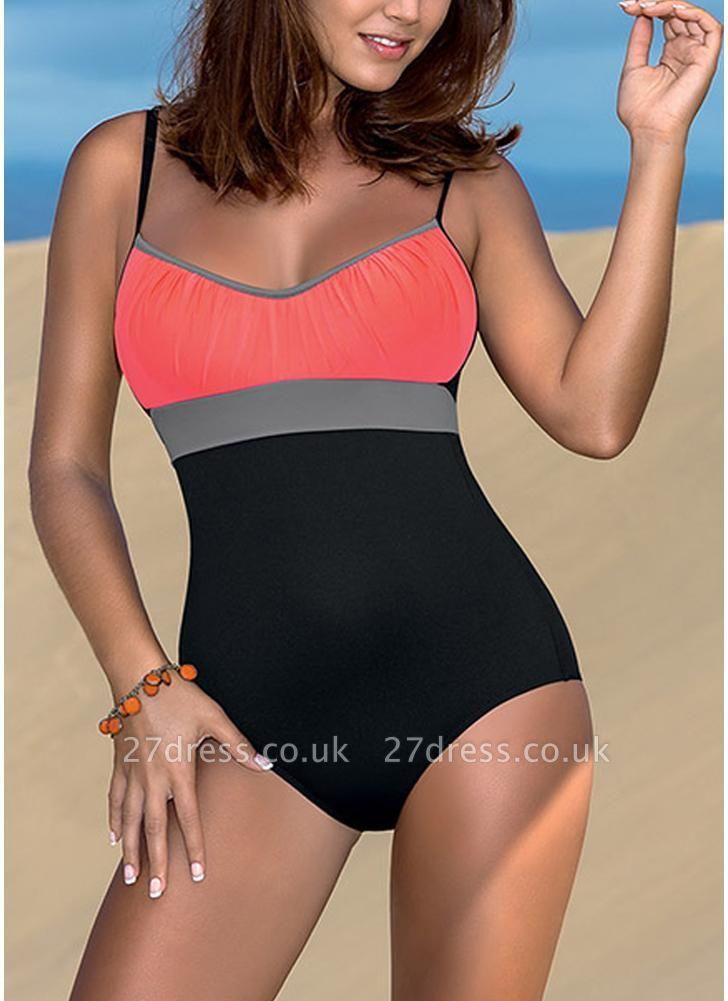 Women One Piece Sexy Bikini  Bodysuit Color Splice Bandage Beach Wear Sexy Bikini Swimsuit Batching Suit