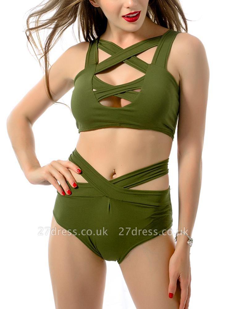 Women Sexy Bikini Set Cut Out Front Deep V-Neck Seeveess High Waist Bottom Swimwear Red/Green
