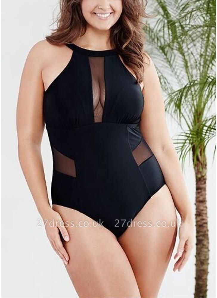 Plus Size Solid Sheer Mesh Halter Neck Open Back One Piece Swimsuit