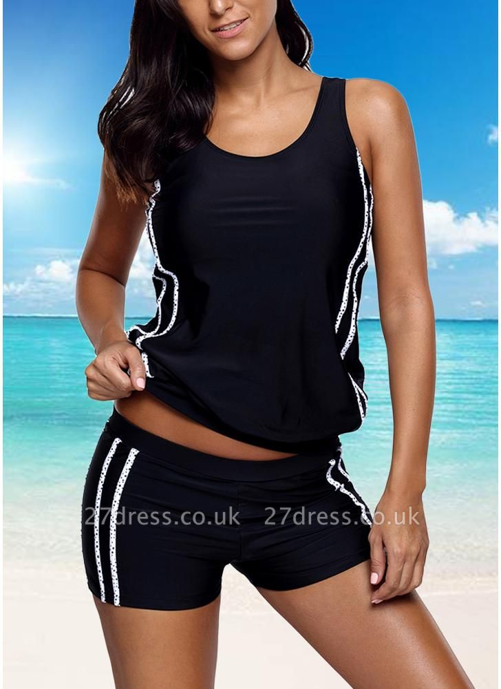Women Tankini Set Swimsuit Striped Padded Top Bottoms  Two Piece Swimwear