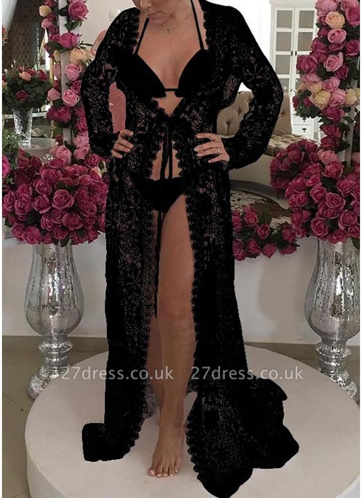 Women Crochet Lace Long Cardigan Beach Sexy Bikini Cover-Up Sheer Maxi Boho Outwear