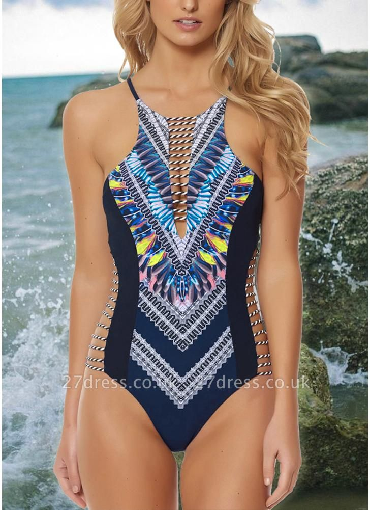 Women One Piece Swimsuit Hollow Out Printed Cross Backless Padded  Swimwear