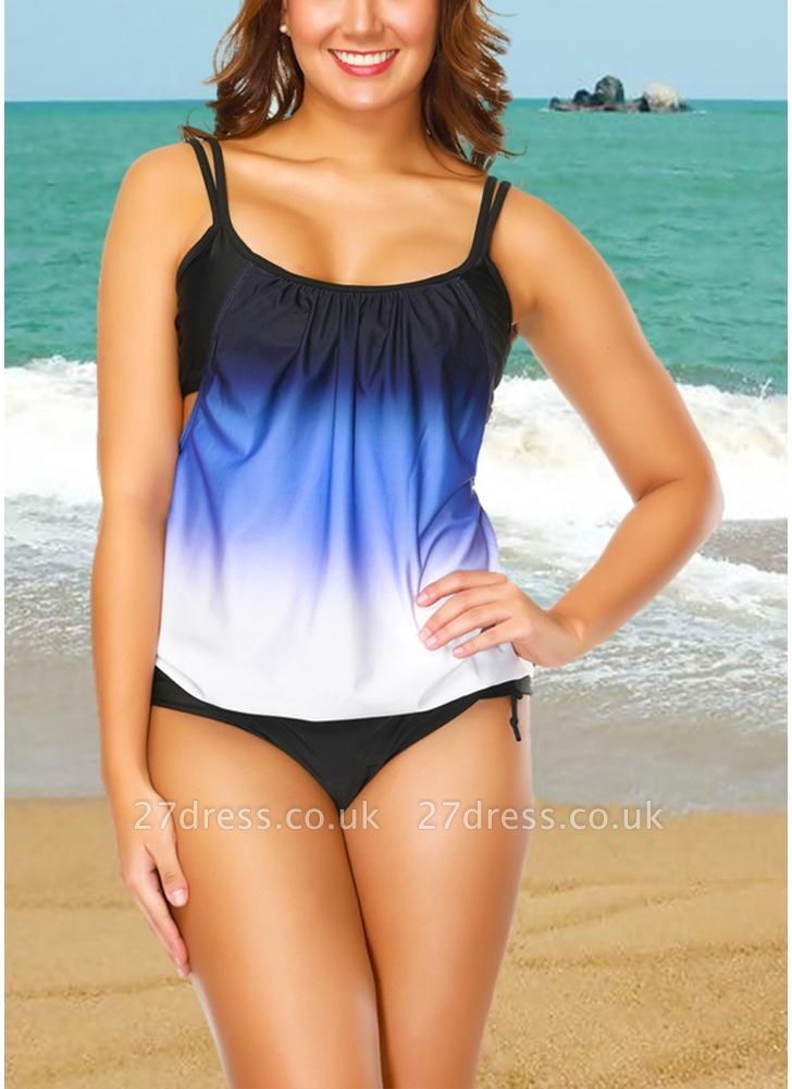 Gradient Print Sleeveless Backless Padded Wireless Swimsuit