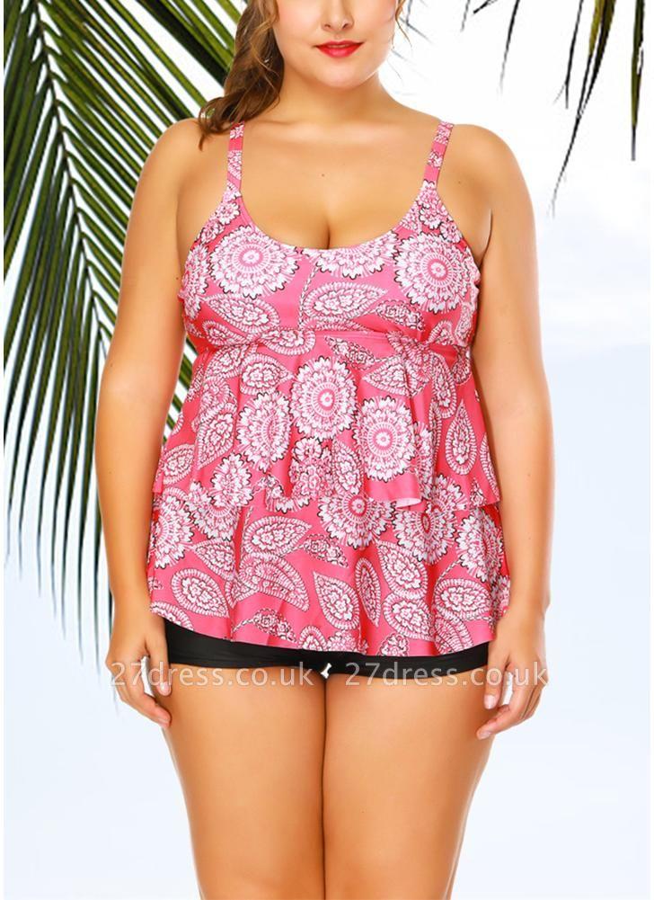 Ruffles Geometric Print Sleeveless Padded Wireless Swimsuit