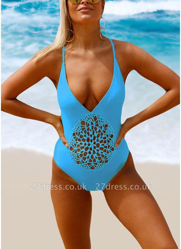 Women Halter One Piece Swimsuit Lace Up Backless Sexy Bikini  Beach Swimwear