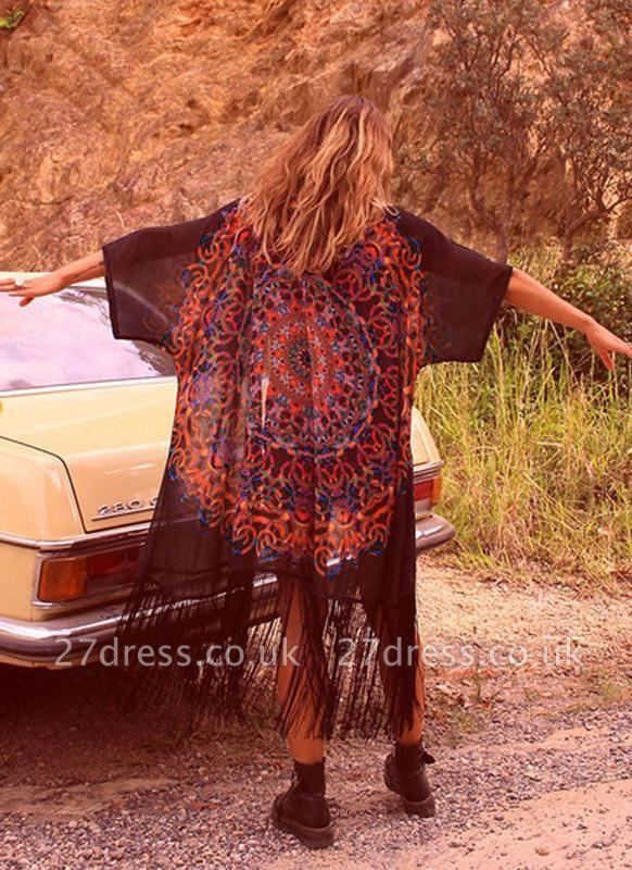 Chiffon Geometric Print Fringe Loose Long Kimono