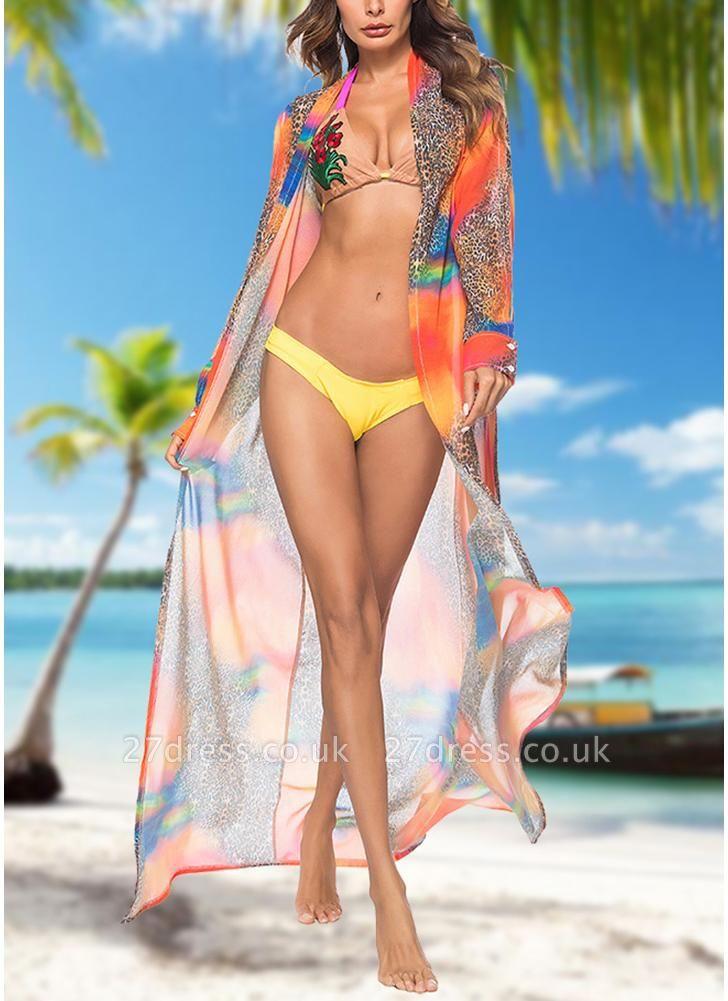 Women Leopard Print Chiffon Cardigan Sexy Bikini CoverUp Beach Boho Outwear Maxi Coverups