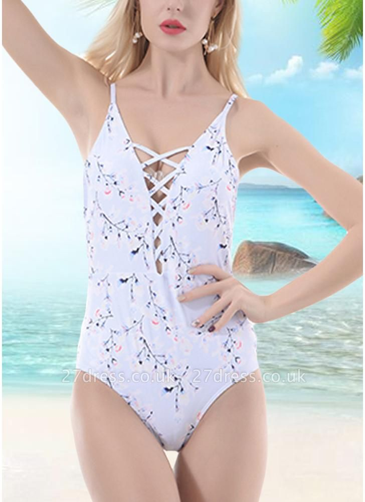 Women One Piece Sexy Bikini Floral Print Bandage Monokini Swimsuits