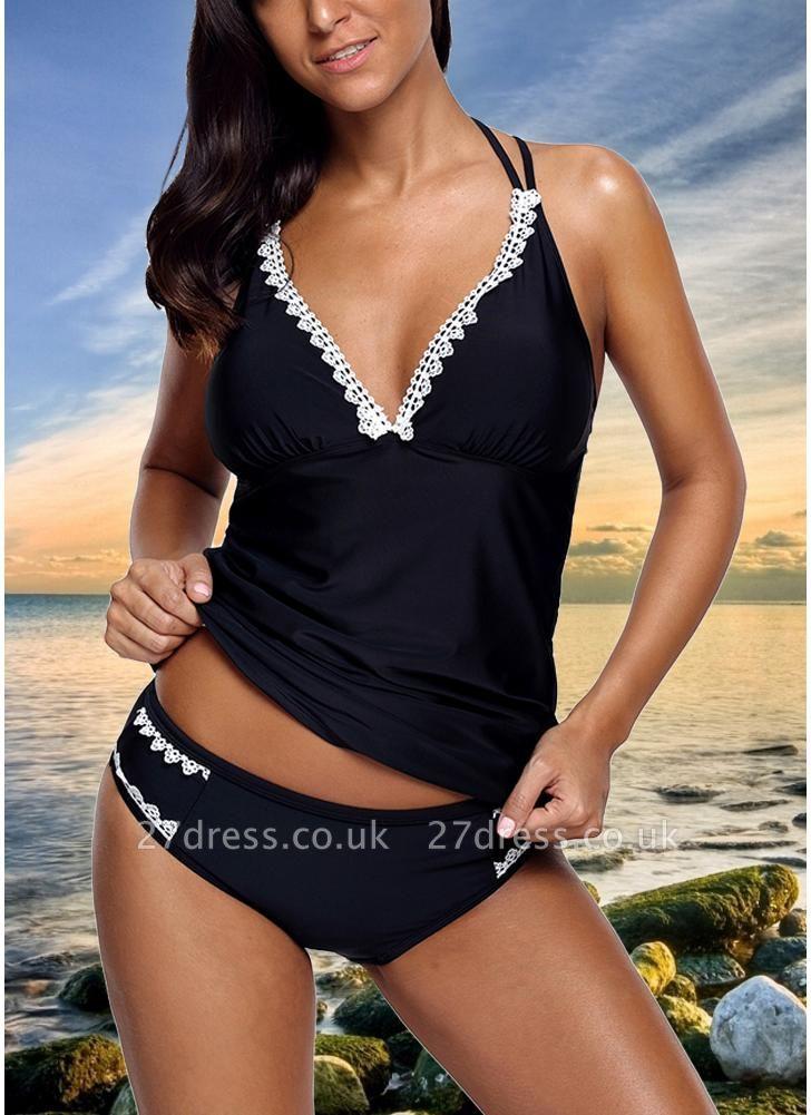 Women Sexy Bikini Set Swimsuit Push Up  Lace Trim Beach Wear Swimwear Plus Size Tankini Set