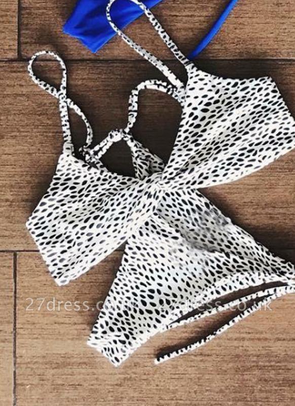 Women Soid Ruched Bandage Strappy Two-Piece Sexy Bikini Set