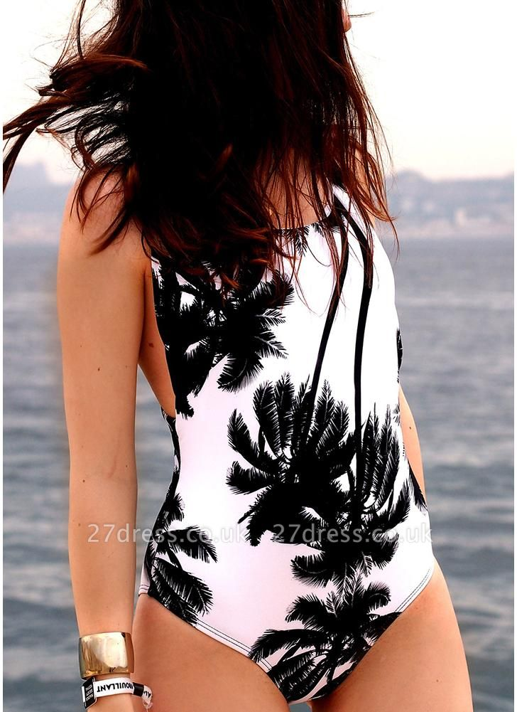 Palm Print Backless One Piece Swimsuit