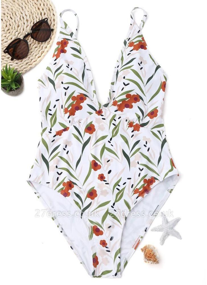 Women Floral One Piece Halter Swimsuit Sleeveless Backless Beachwear