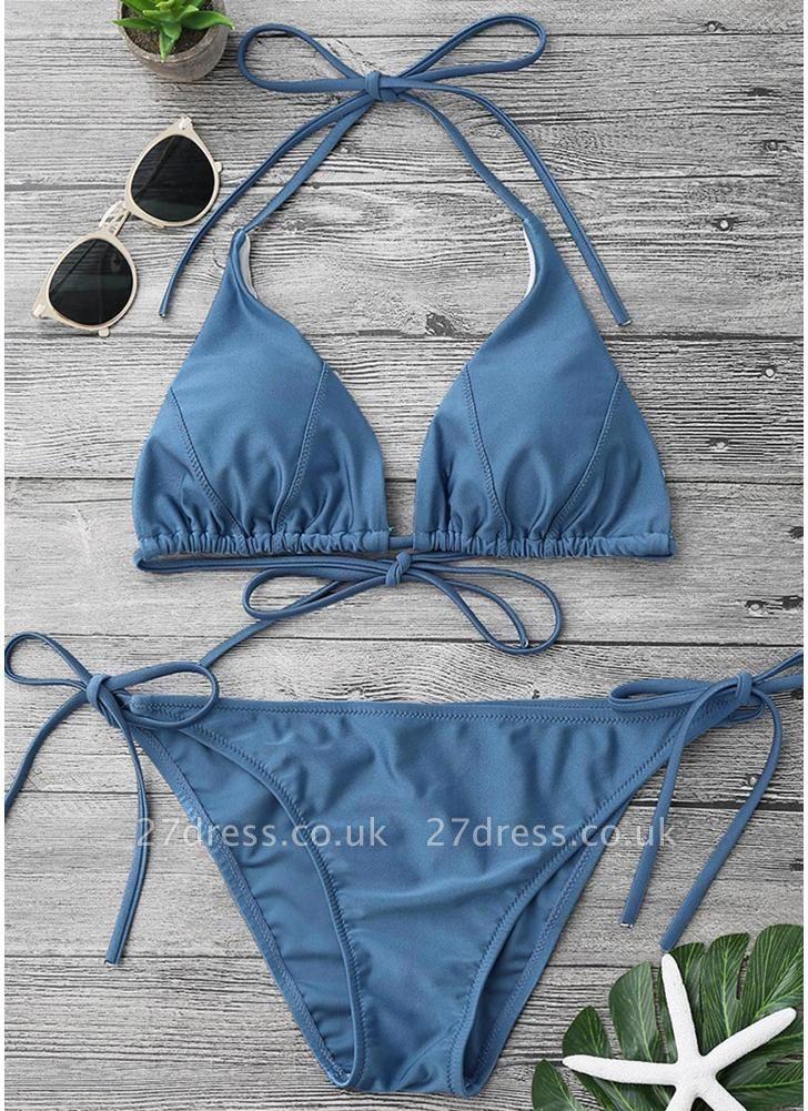 Solid Color Halter Bandage Tie Sexy Bikini Set