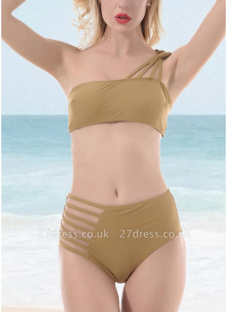 Women One Shoulder Hollow Out Side Bandage High Waist Padded Wireless Two Piece Sexy Bikini Set