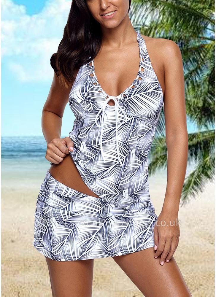 Women Two Piece Swimsuit Tankini Set Leaves Print Bandage Halter Skirt  Swimwear