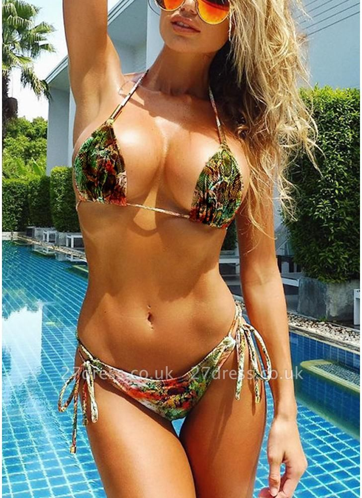 Women Halter Snakeskin Print Padded Wireless Sexy Bikini Set