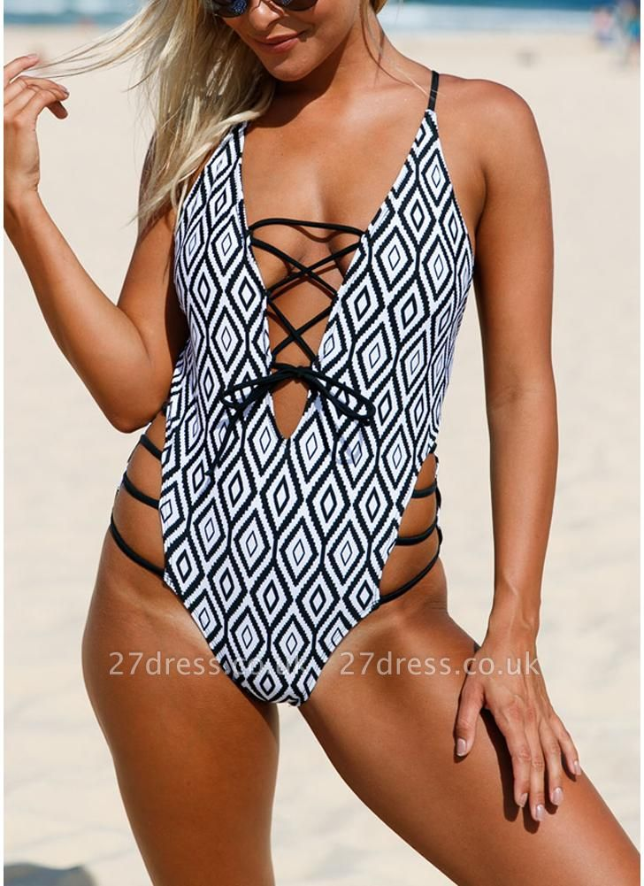 Women Swimsuit Beach Wear Geometric Print Lace-Up Strappy  One-Piece Sexy Bikini