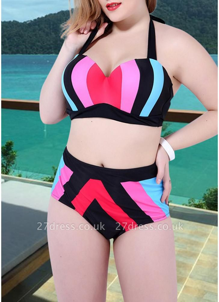 Women Plus Size Swimsuit Two Pieces Color Block Halter Underwire Bathing