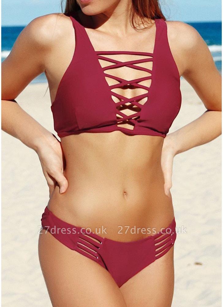 Hollow Out Brazilian Criss Cross Push Up Padded Bandage Sexy Bikini Set