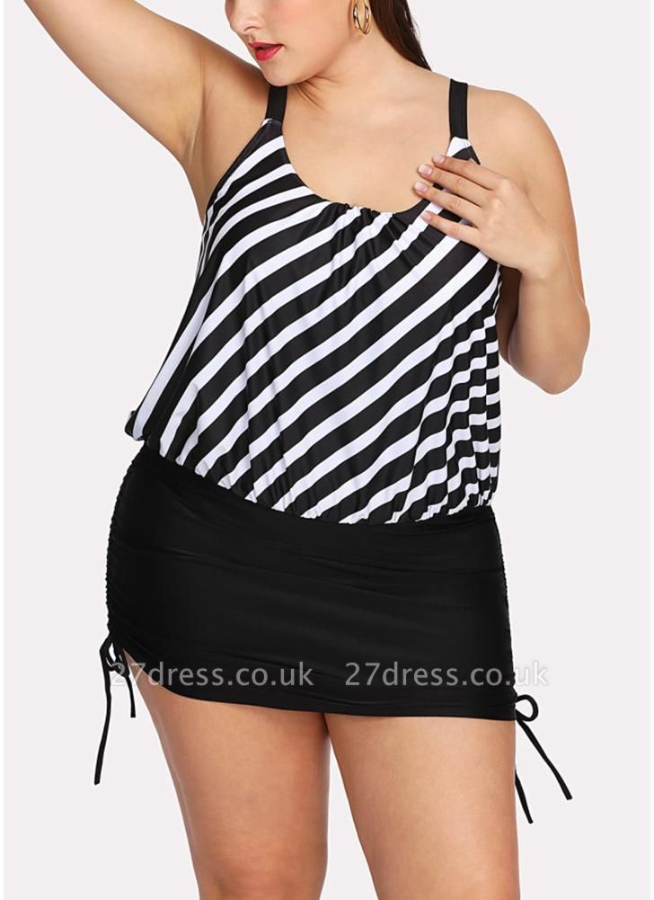 Women Striped Swim Dress Tie Side