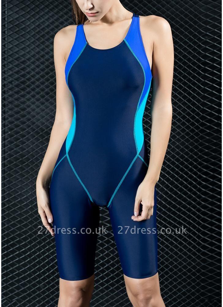 Women Sports One Piece Swimsuit Full Brief Knee Professional  Swimwear