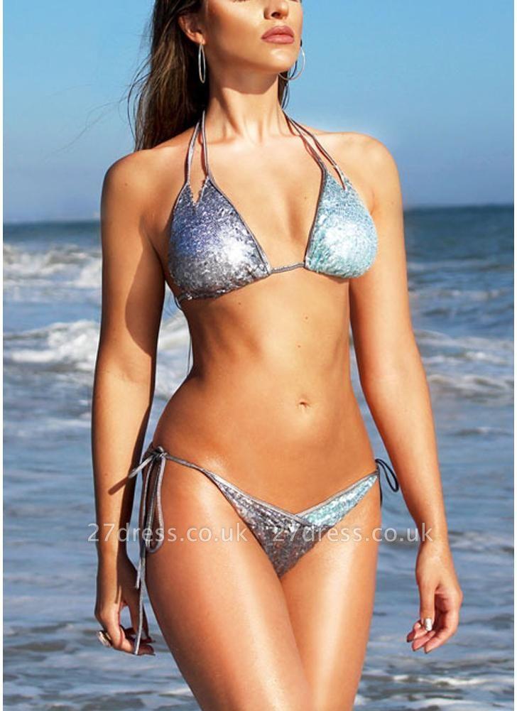 Women Sequin Double Strap Halter Sexy Bikini Set Tie Waist