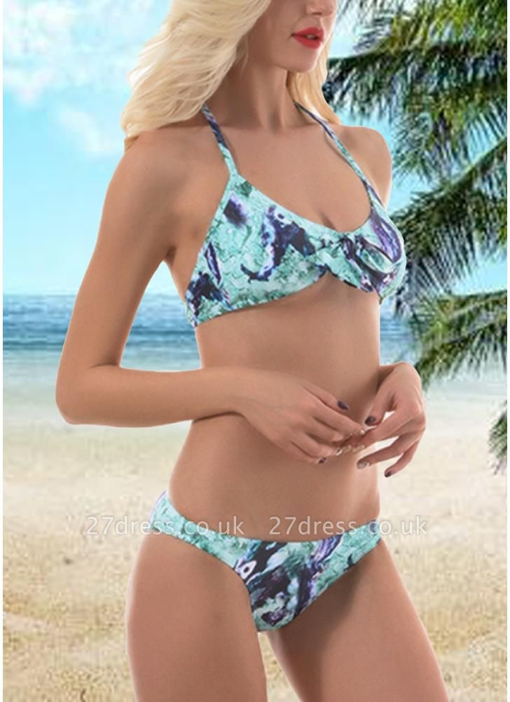 Women Vintage Print Bow Halter Padded Beach Sexy Bikini Set