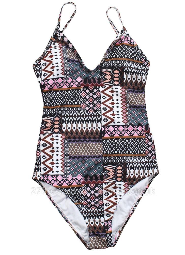 Women Spaghetti Strap One-Piece Swimsuit Totems Print Monokini Push Up Padded Sexy Bikini Swimwear