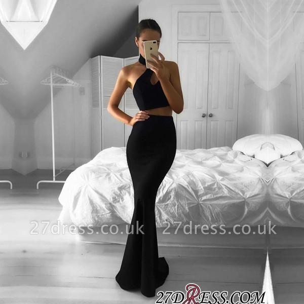 Mermaid Black Two-Piece Halter Newest Sleeveless Prom Dress UK BA7157