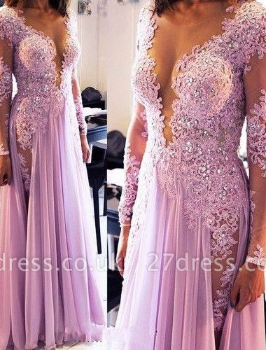 Elegant Lace Appliques Crystals Prom Dress UK V-neck Chiffon