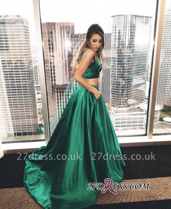 Newest Sweep-Train Two-Piece Straps A-line Sleeveless Evening Dress UK