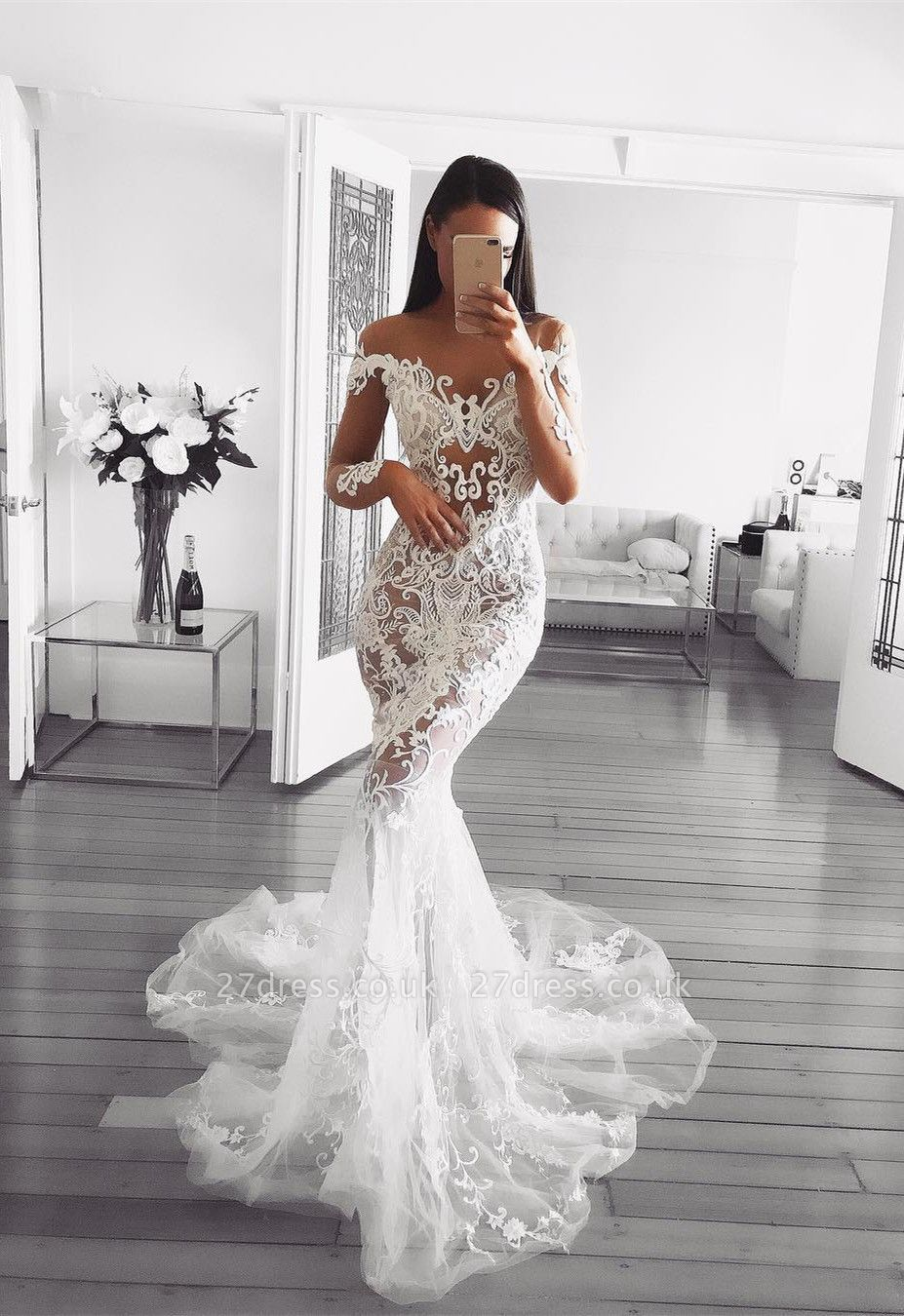 Elegant Long Sleeve Wedding Dress   2019 Sexy Mermaid Lace Bridal Gowns