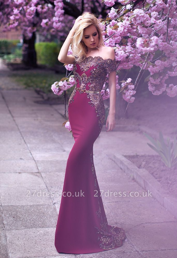 Gorgeous Off-the-Shoulder Evening Dress UK Lace Mermaid Party Gowns On Sale