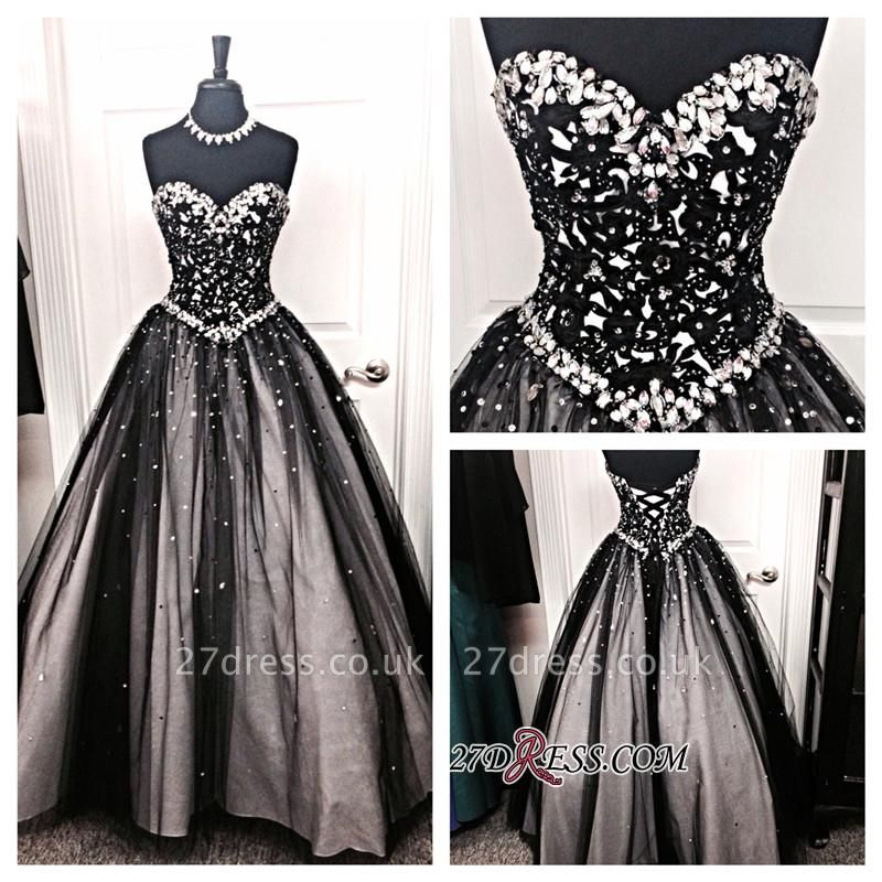 Crystal A-Line Lace-up Tulle Black Sexy Sweetheart Prom Dress UK