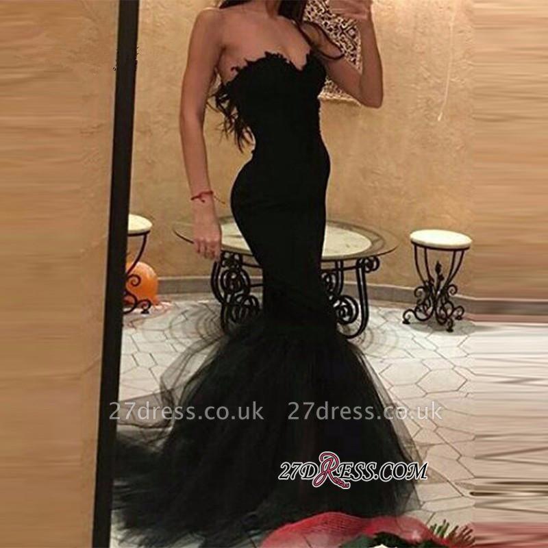 Tulle Simple Mermaid Black Sweetheart Prom Dress UK