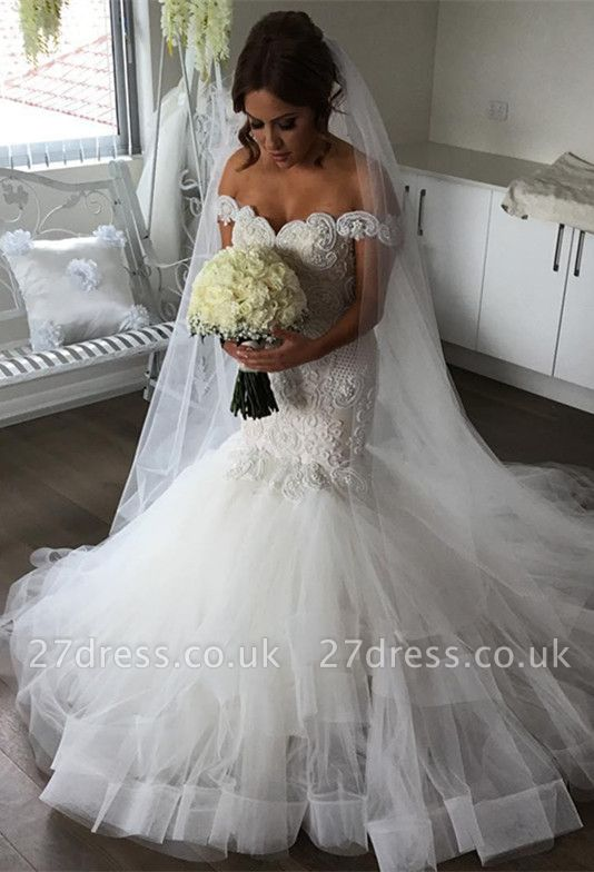 Elegant Off-the-Shoulder Sexy Mermaid Wedding Dress | Tulle Bridal Gowns
