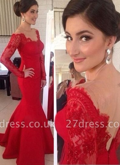 Red Long Sleeves Prom Gowns Mermaid Long Sleeve