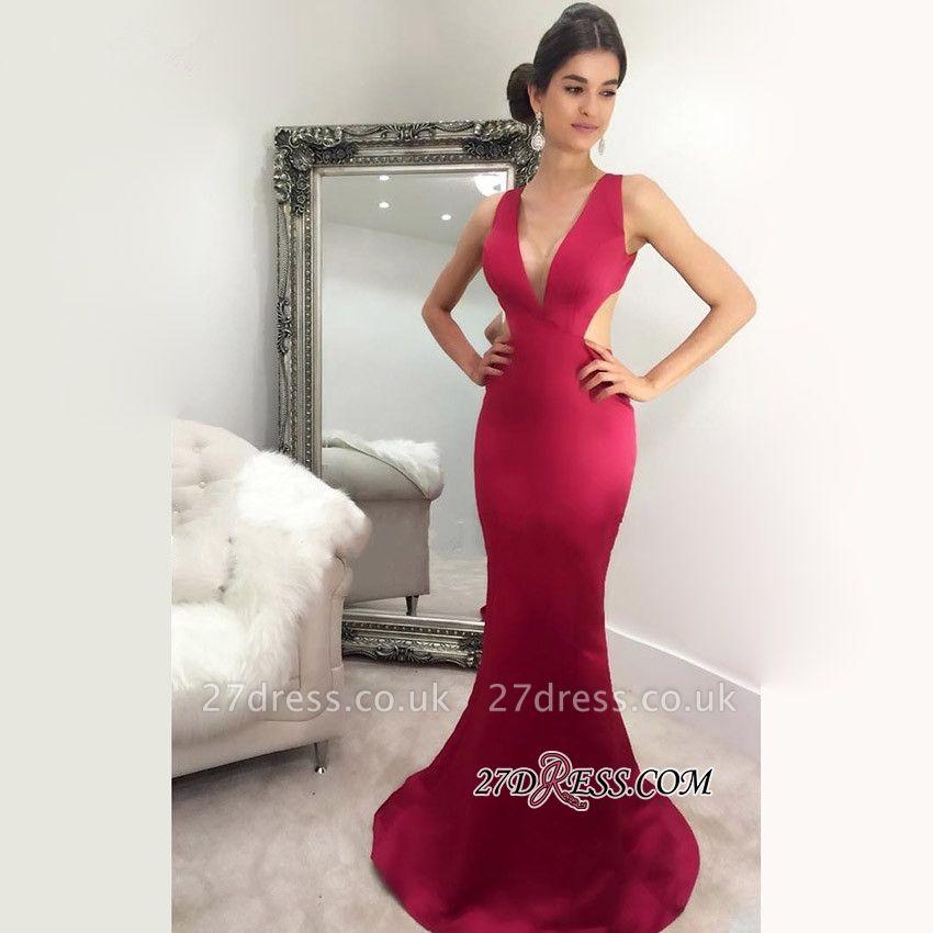 Floor-Length Luxury Mermaid V-Neck Sleeveless Evening Dress UK