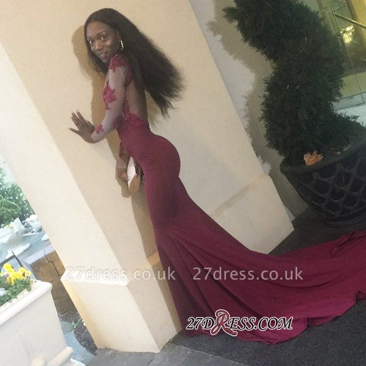 Burgundy prom Dress UK, lace evening gowns BK0
