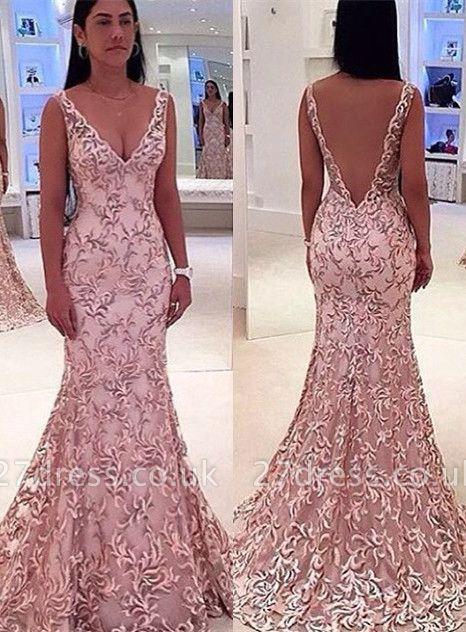 Elegant V-Neck Sleeveless Evening Dress UK Lace Mermaid Floor Length