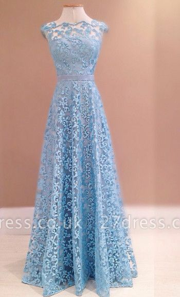 Luxury Blue Lace Evening Dress UK Sleeveless Floor Length