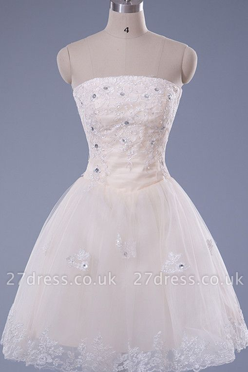 Gorgeous Strapless Sleeveless Short Homecoming Dress UK With Beadings Lace